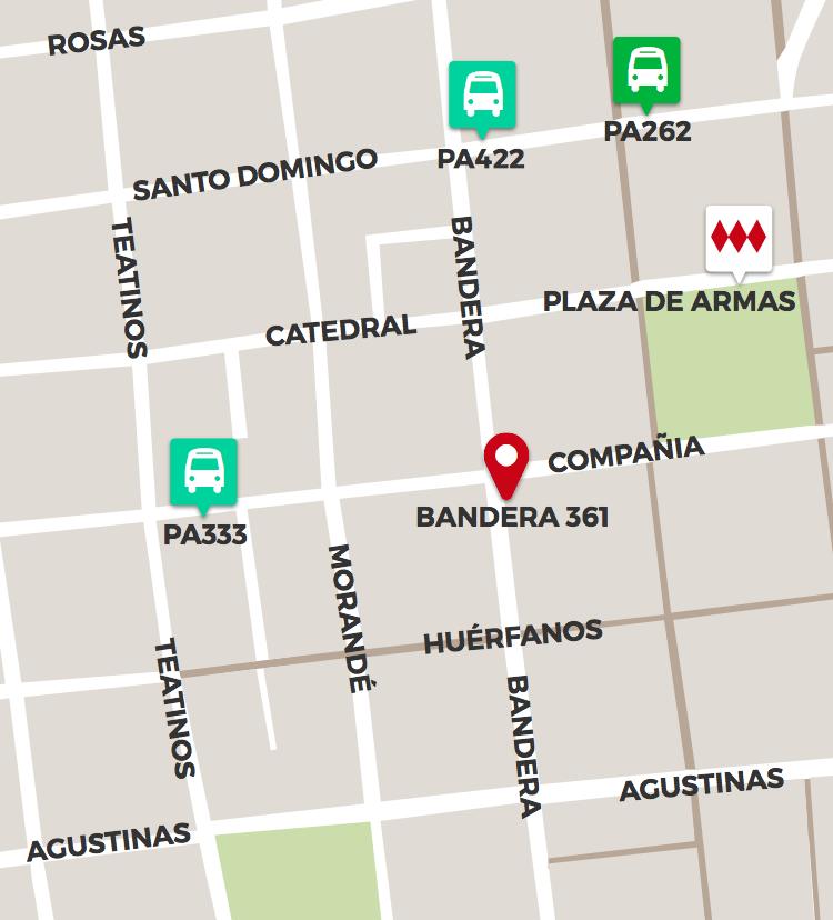 Mapa de ubicación del Museo Chileno de Arte Precolombino
